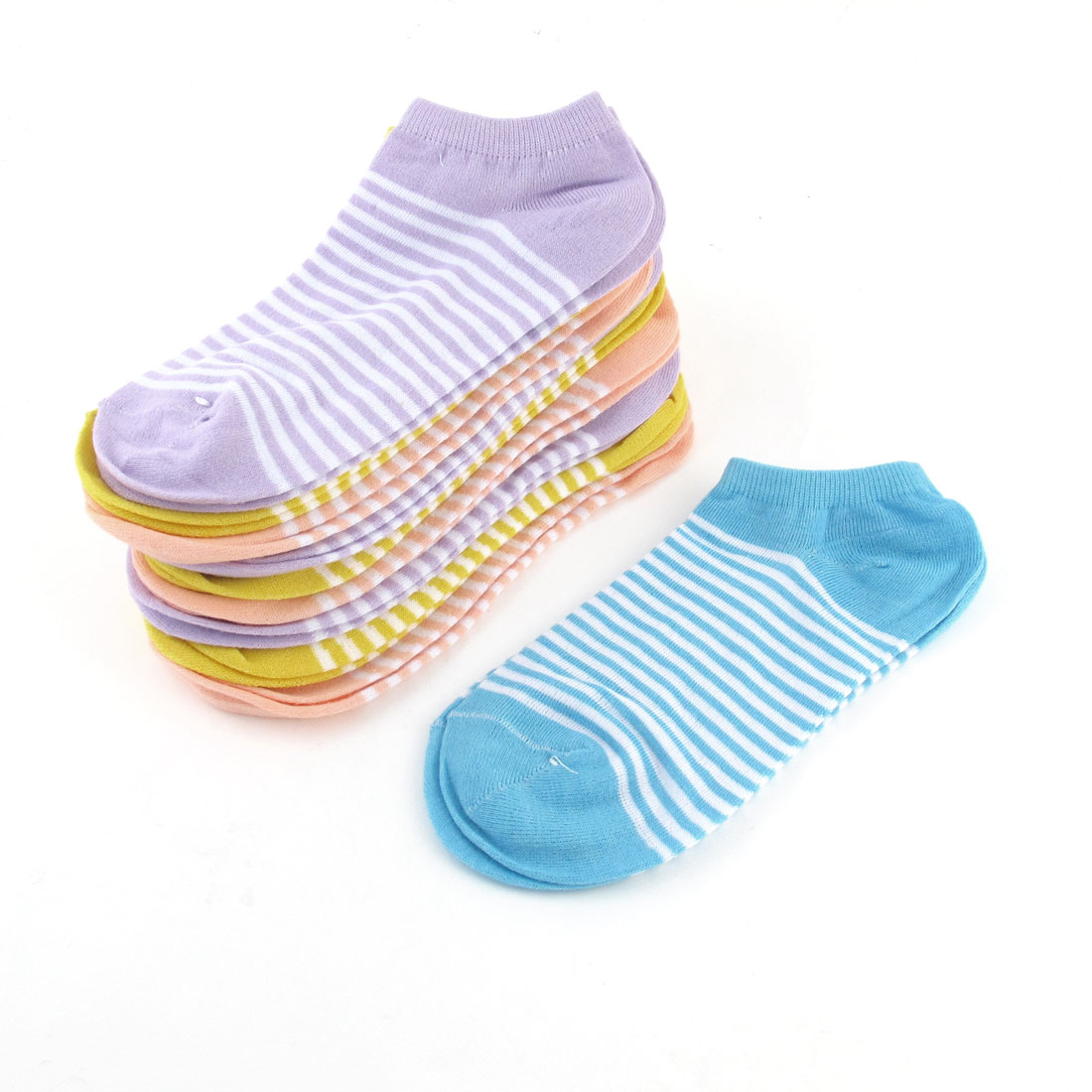 10 Pairs Ladies Stripes Print Pale Orange Yellow Knitted Elastic Ankle Socks