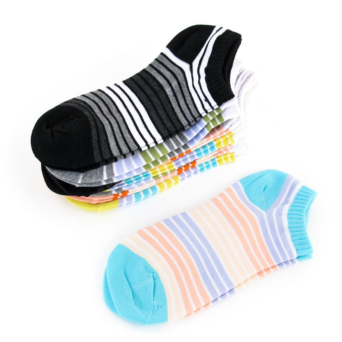 10 Pairs Ladies Stripes Print Black Orange Yellow Knitted Elastic Ankle Socks