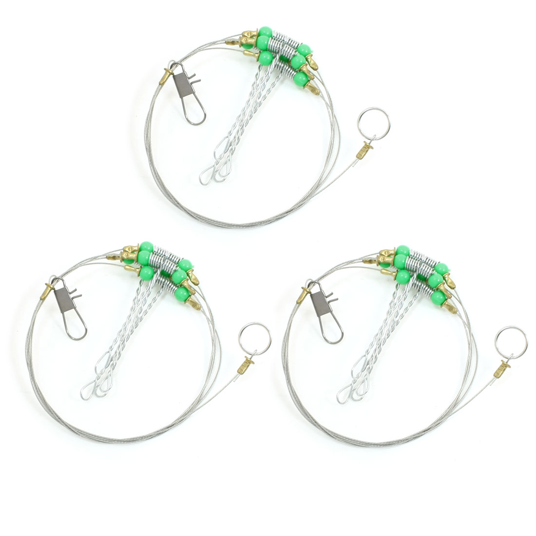 3pcs 72cm Stainless Steel Fishing Trace Fish Wire Leader Swivel w Snap