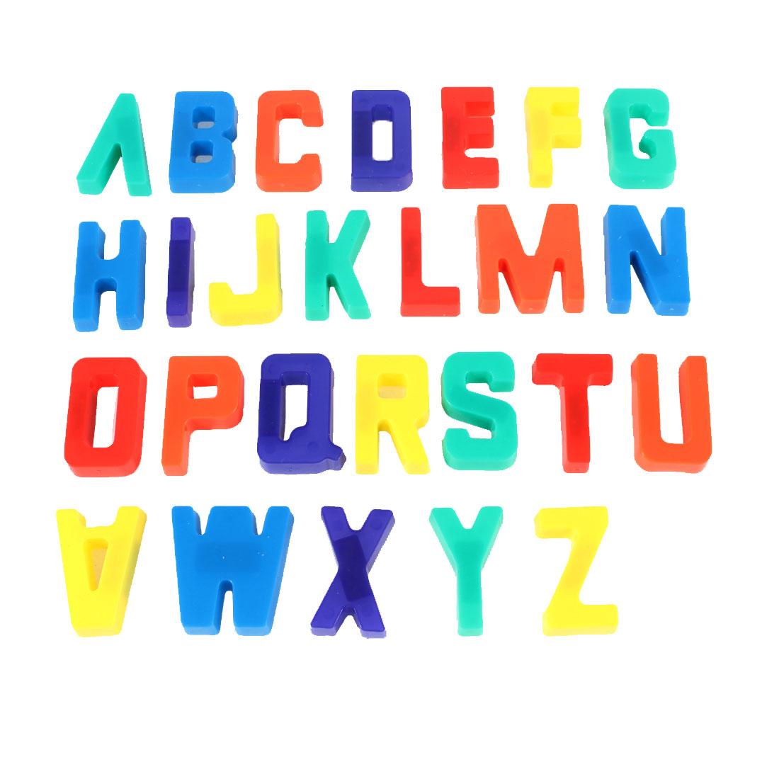 Fridge Assorted Color Plastic A-Z English Letters Magnetic Sticker Ornament 26 Pcs