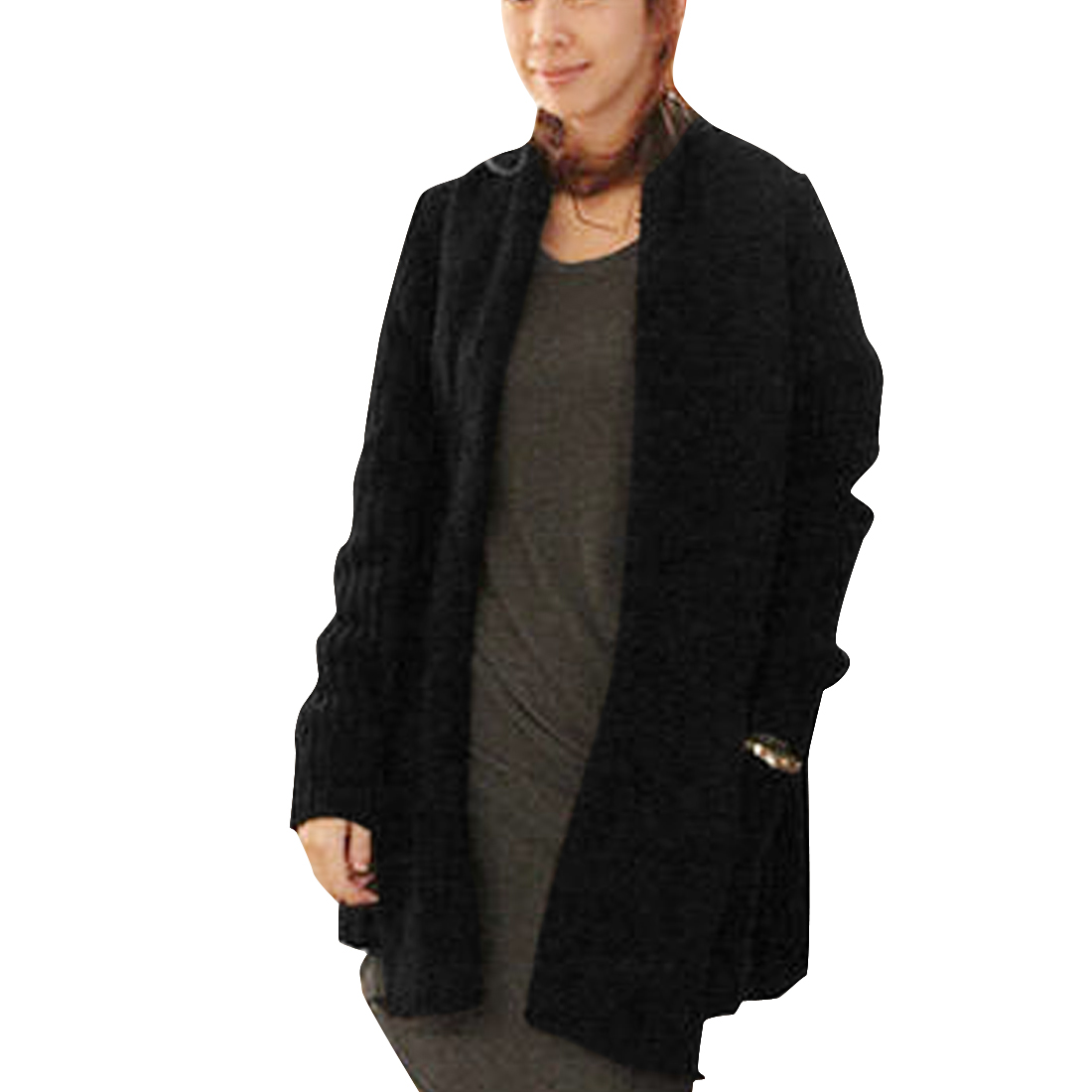 Women's Long Sleeves Panel Front Opening Warm Black M Sweater Cardigan