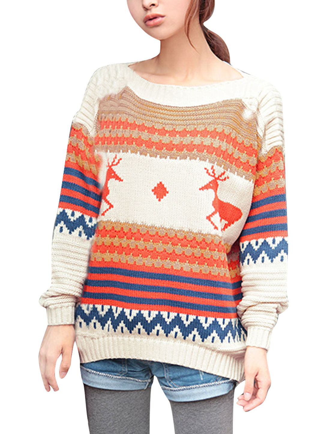 Ladies Boat Neck Long Sleeve Geometric Pattern Beige Orange Sweater S