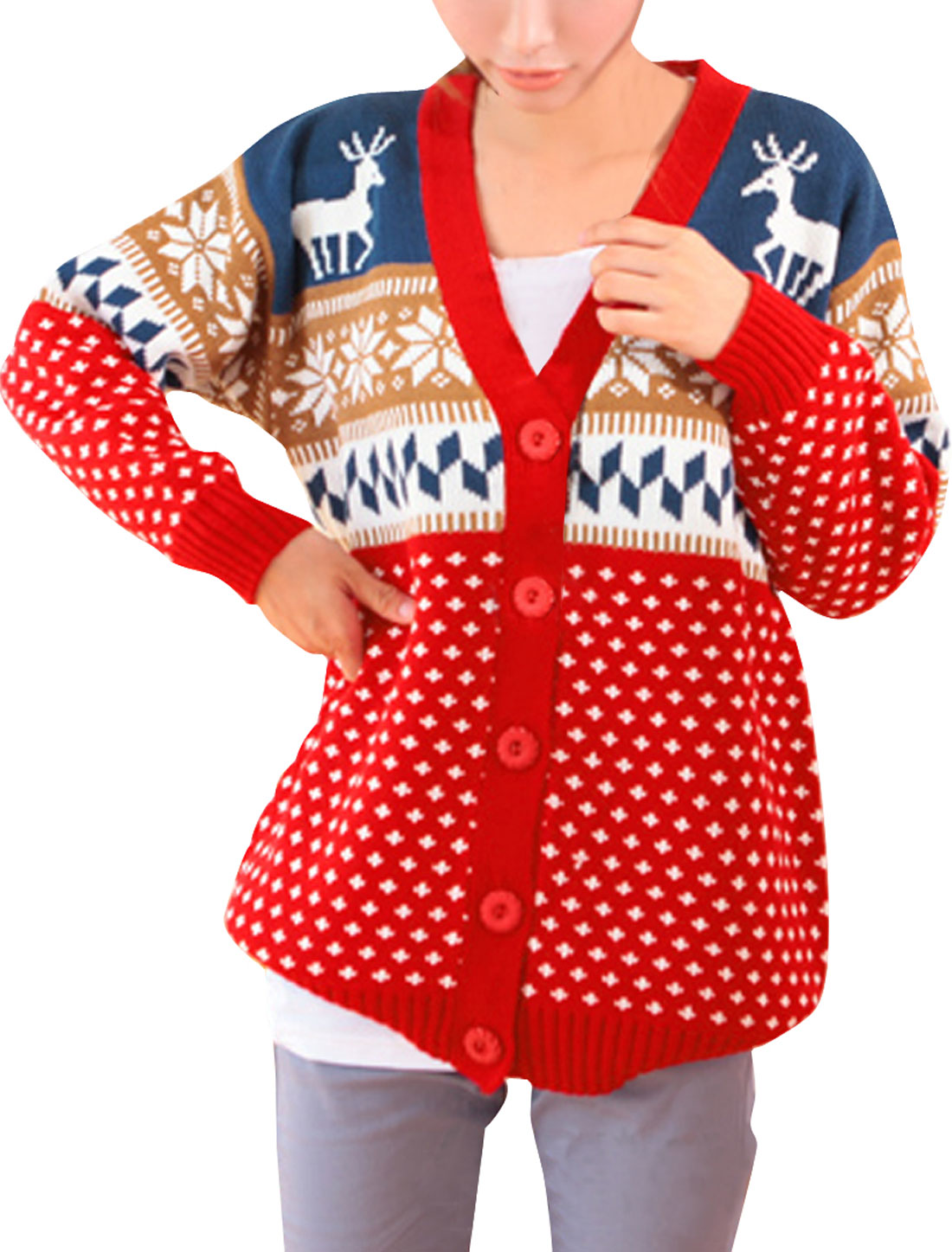 Woman Chic Geometric and Deer Pattern Button Down Red Sweatercoat S