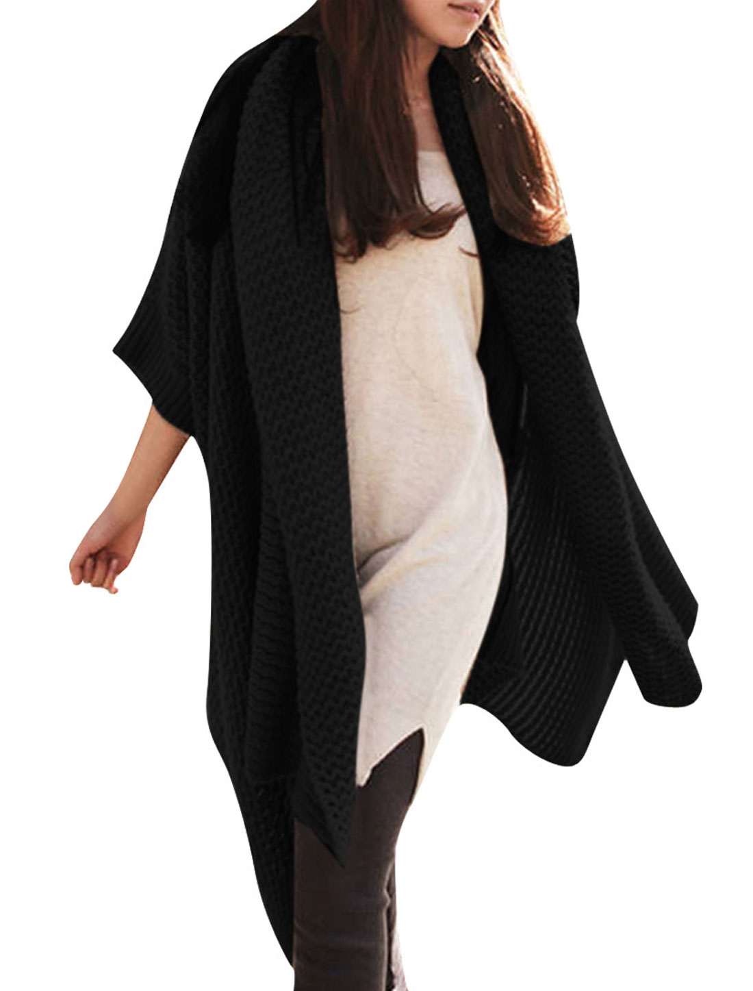 Ladies Stylish Pure Black Color Irregular Hem Draped Sweater Coat M