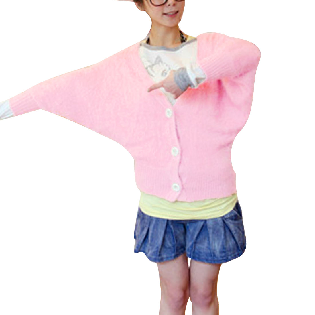 Women's V Neck Batwing Sleeves Loose Stretchy Pink Plush Sweater Coat S