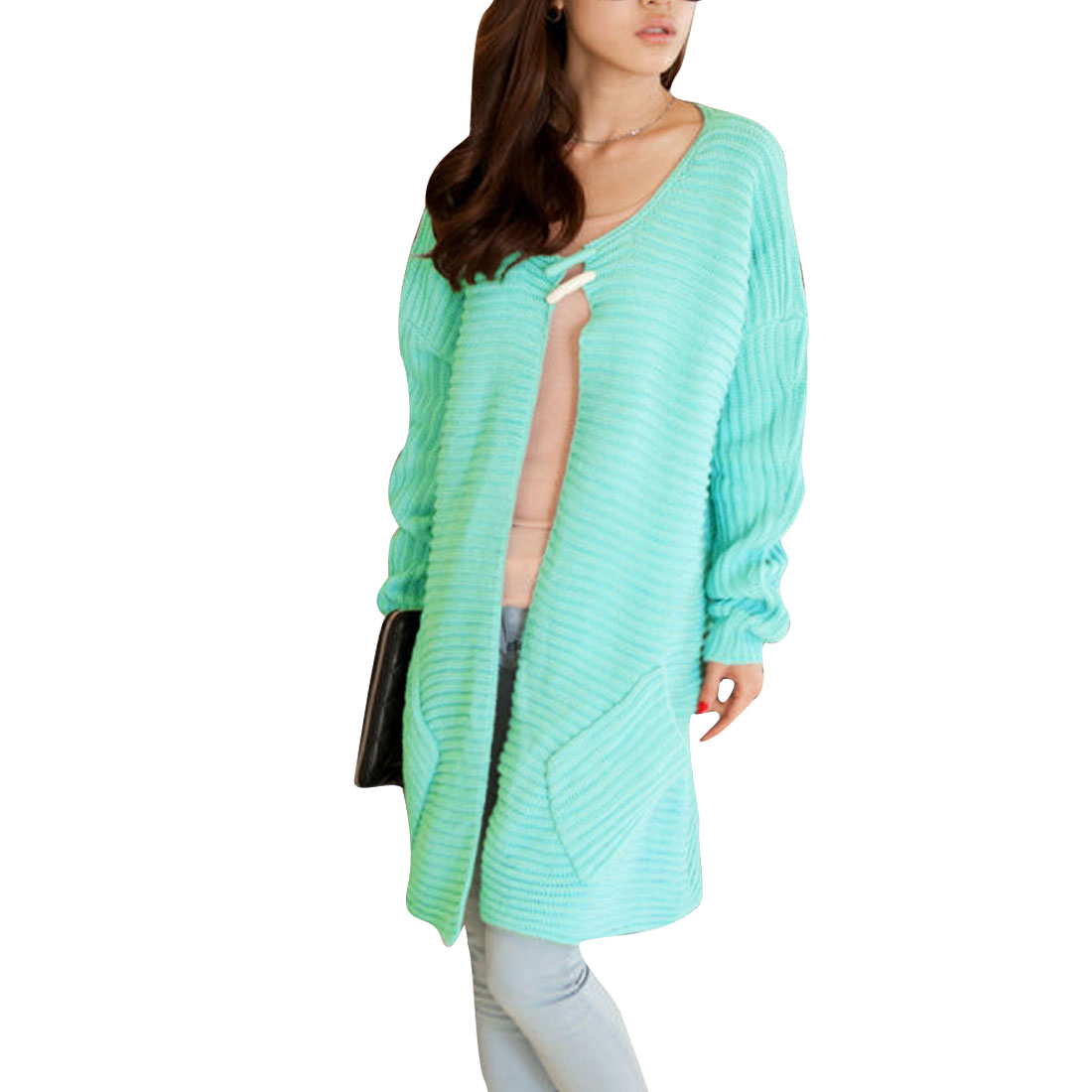 Women's Scoop Neck Big Pins Irregular Hem Front Opening Lake Green M Cardigan