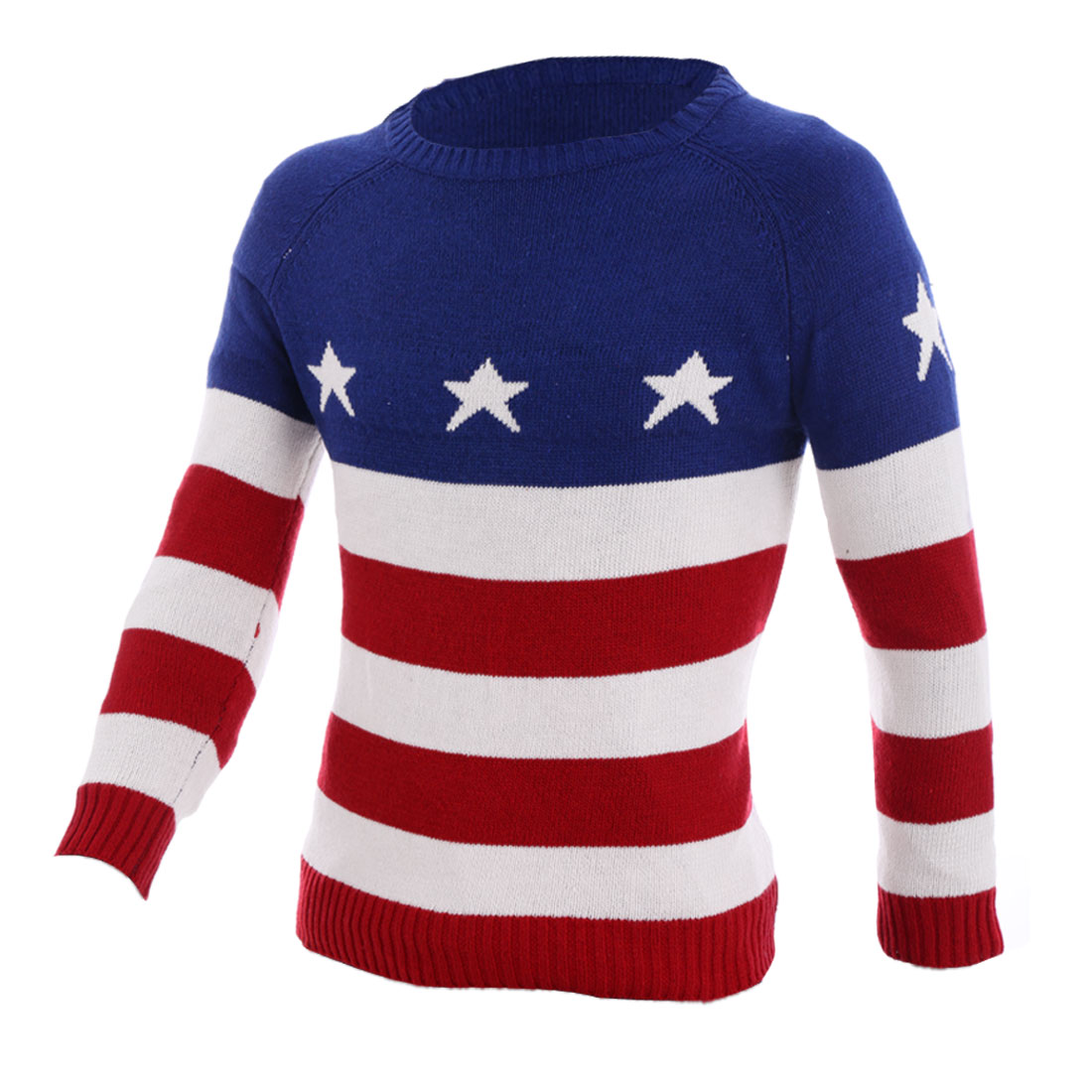 Men's Round Neck Star Pattern Stripes Long Sleeves Multicolor Sweater M