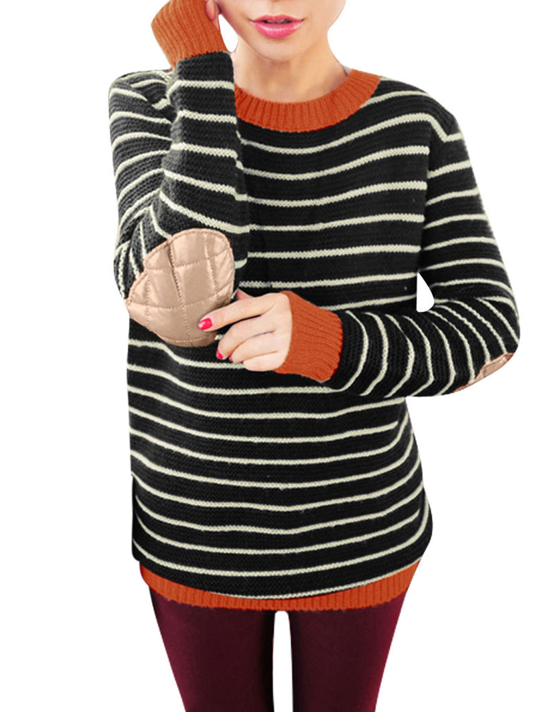 Women Long Sleeves Crew Neck Elbow Patch Striped Sweater Black M