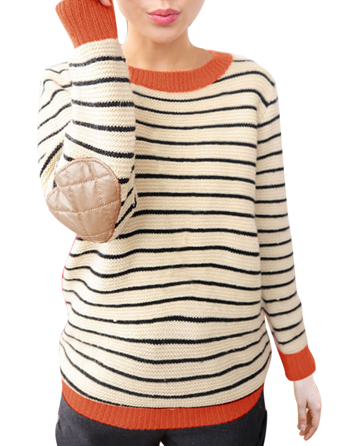 Women Long Sleeves Crew Neck Elbow Patch Striped Sweater Beige M