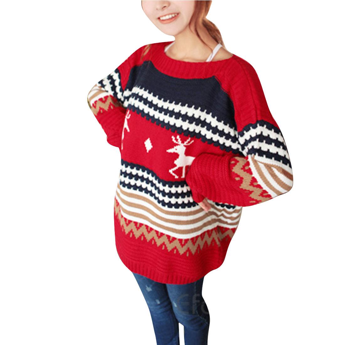 Woman Stylish Red Dark Blue Geometric & Deer Pattern Sweater S