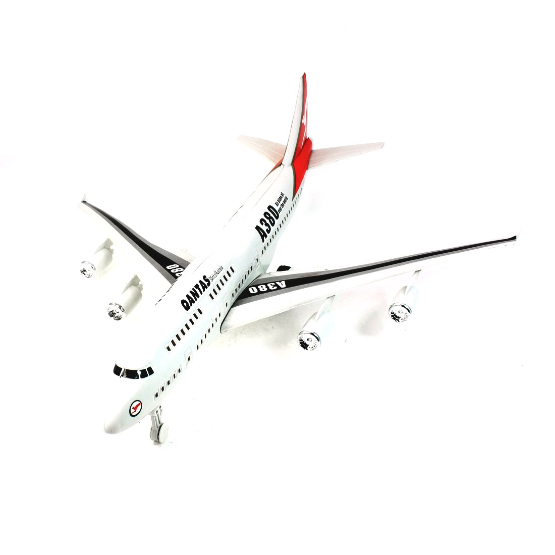 White Red Plastic 3 Wheels Pull String Airplane Model Toy for Child Kid