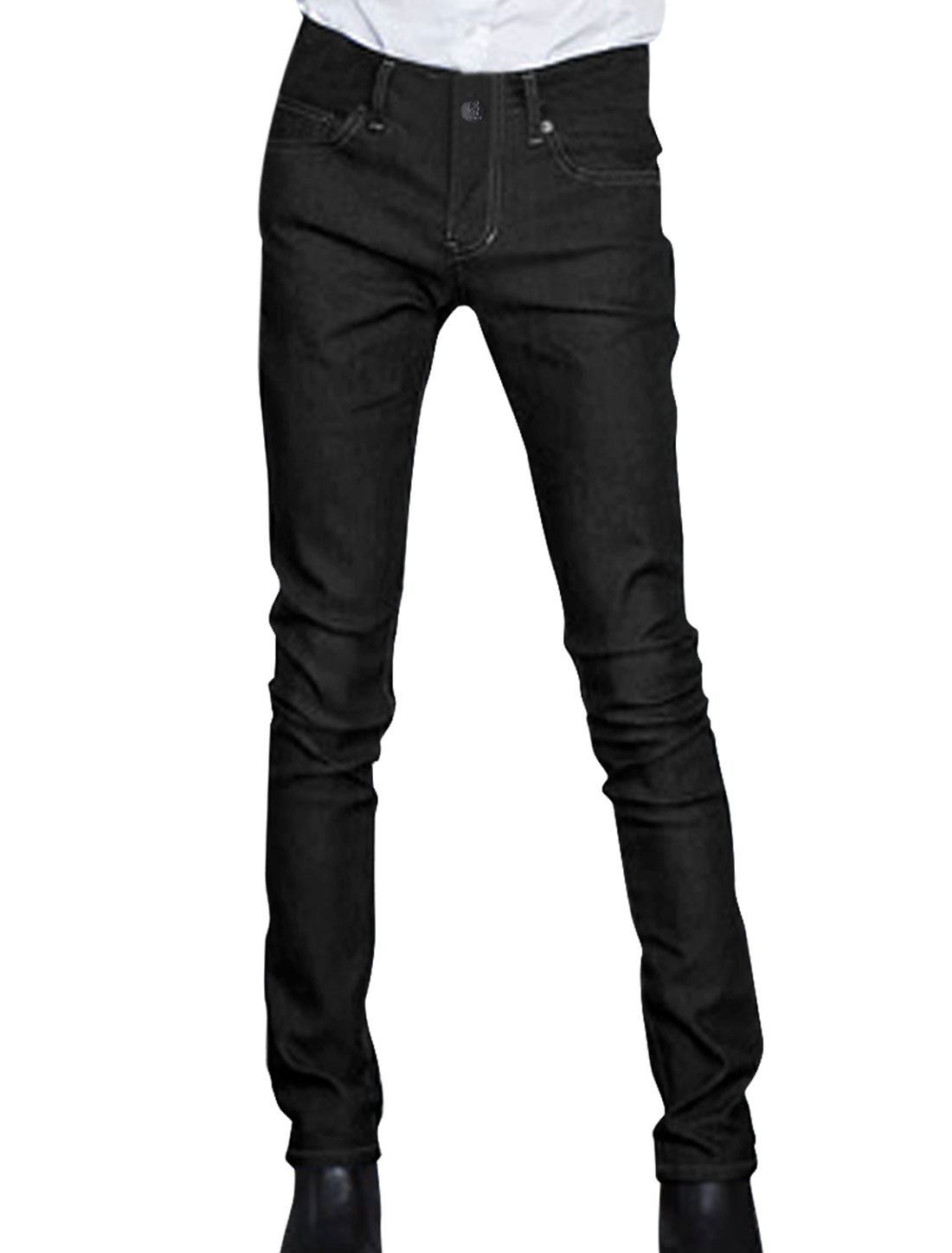 Man Chic 5 Pockets Design Black Straight Leg Casual Jeans W33