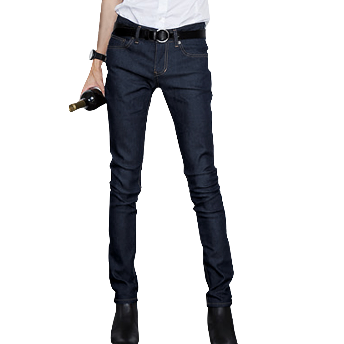 Men Natural Waist Zipper Fly Simple Design Straight Leg Dark Blue Jeans W33
