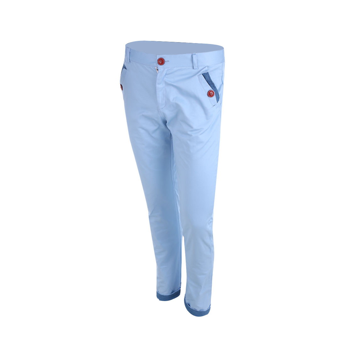 W32 Light Blue Zipper Fly Back Pockets Slim Fit Roll-Up Pants for Men