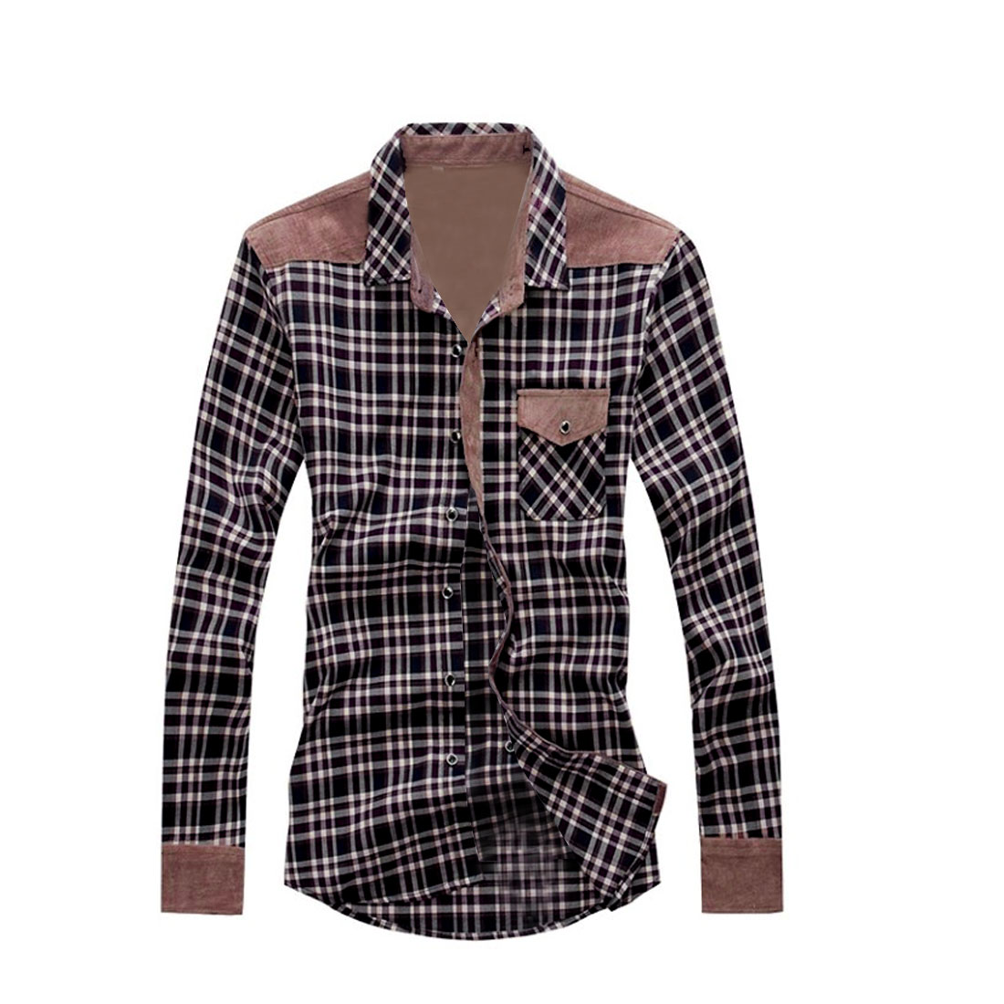 Stylish Red Beige Single-Breasted Front Plaids Casual Shirt for Man M
