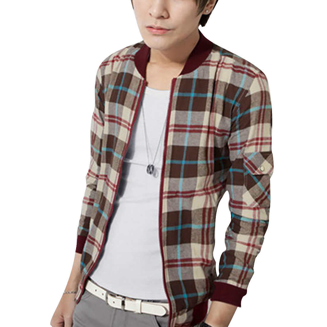 Men M Coffee Mock Neck Full Zip Plaids Pattern Long Sleeve Casual Jacket