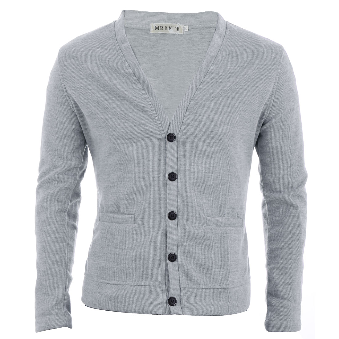 Man Chic V Neck Single-Breasted Front Light Gray Knitted Cardigan M