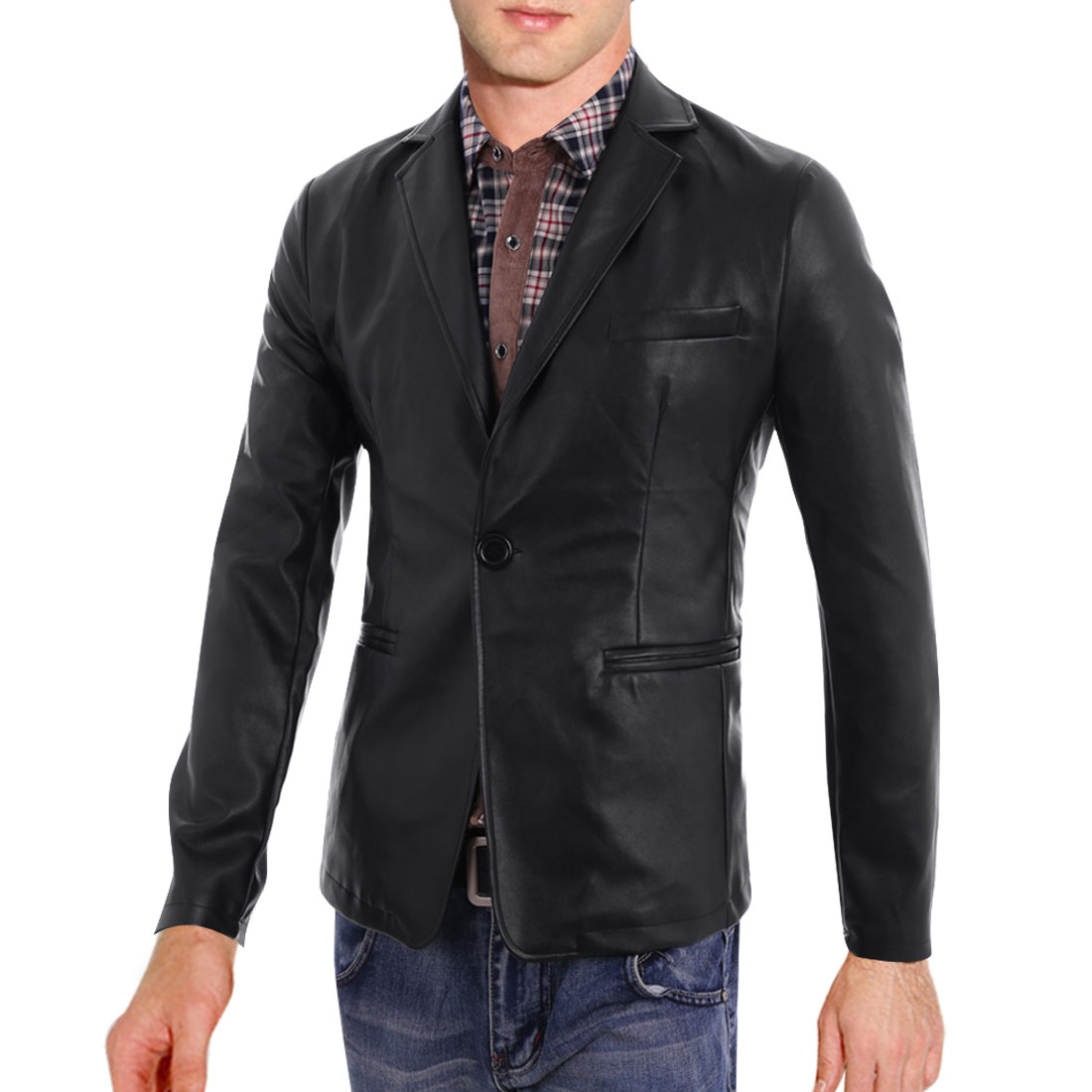 Men's Peaked Lapel One Button Long Sleeves Black M Leather Jacket Coat