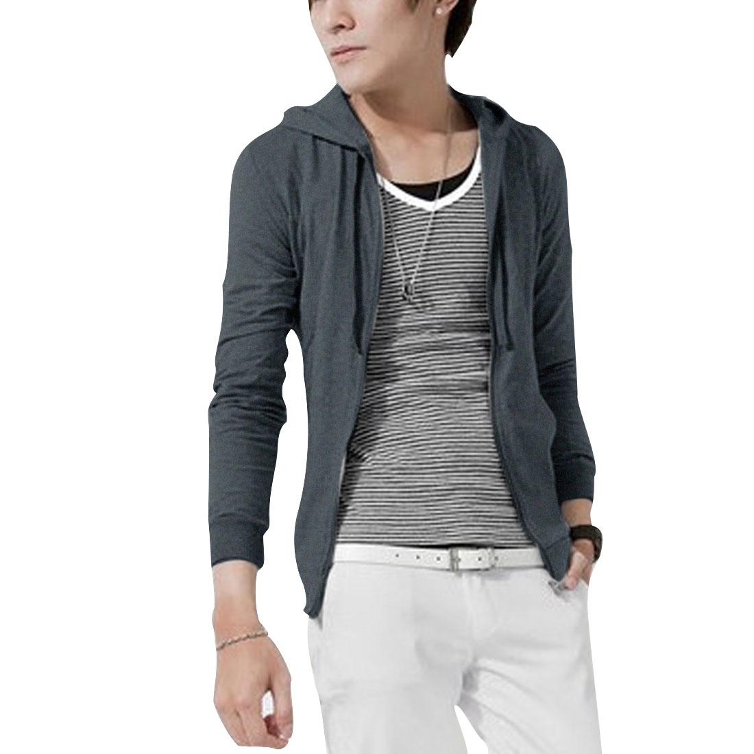 M Dark Grey Hooded Front Closure Design Slim Fit Coat Jacket for Men