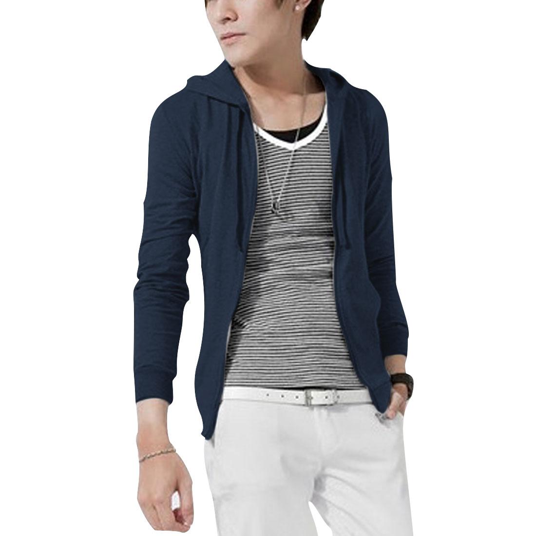 Men M Navy Blue Long Sleeve Pure Color Design Slim Fit Jacket Hoodie