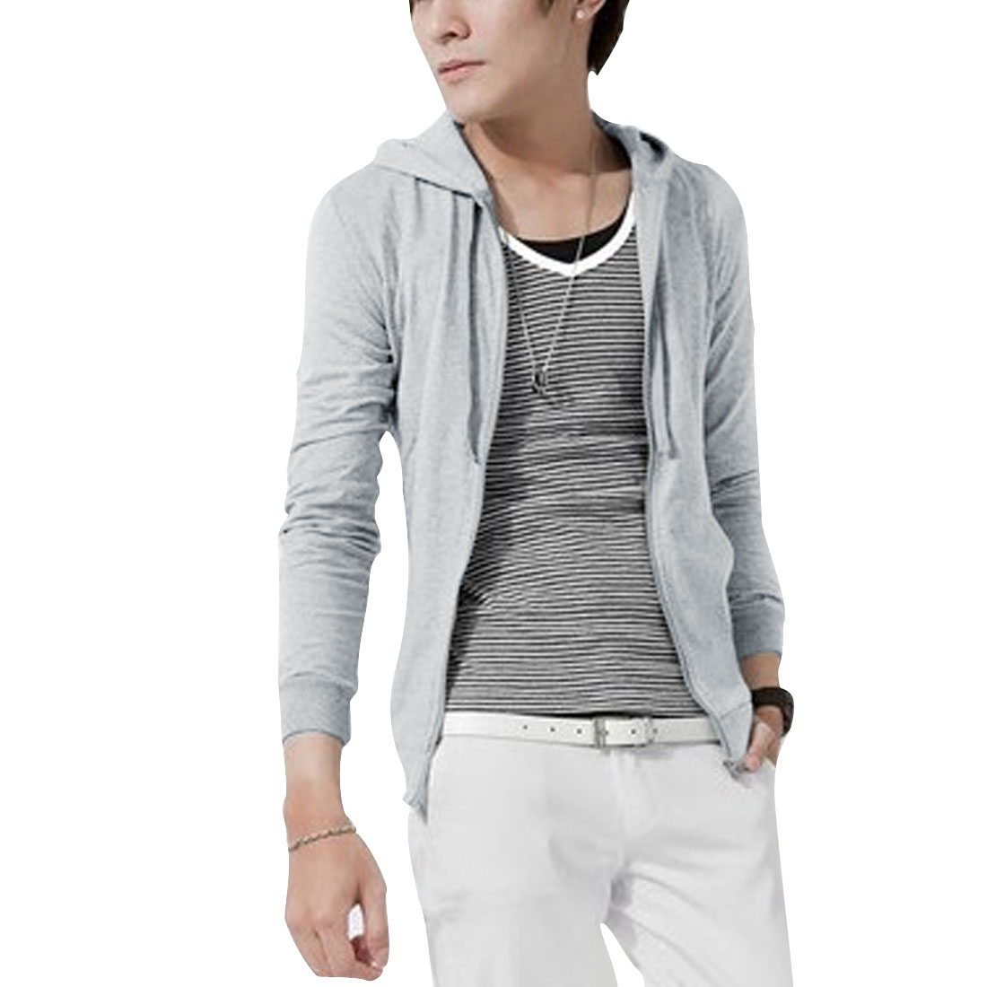 M Light Grey Skinny Fit Front Pocket Solid Color Style Fashion Men Hoodies