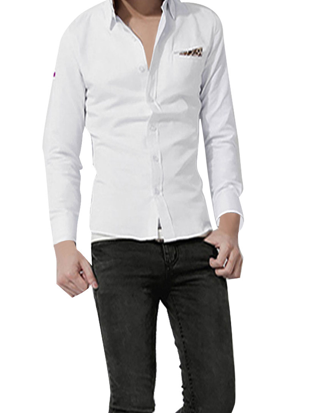 Stylish Single-Breasted Front Leopard Detail White Casual Shirt for Man M