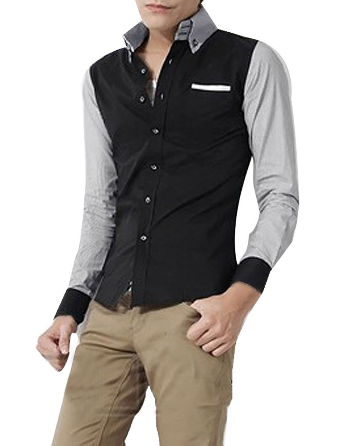 Men Stylish Contrast Color Stripes Pattern Black Casual Shirt S