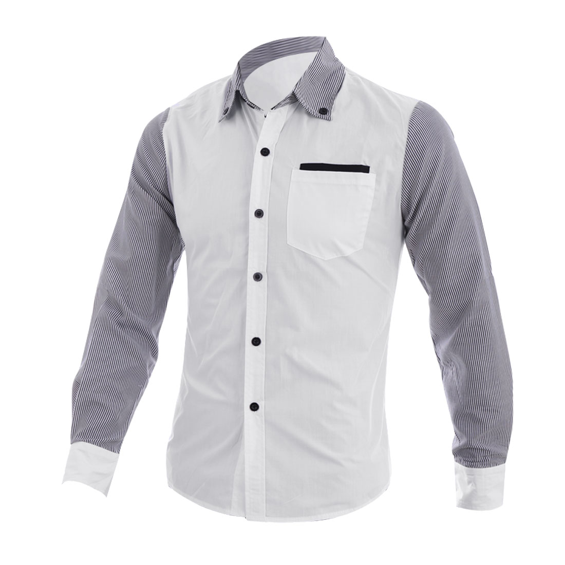 Man Chic Point Collar Long Sleeve Striped Button Down White Shirt S