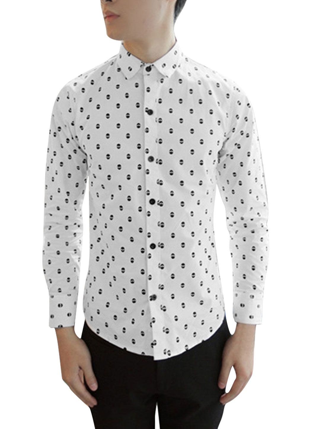 Men's Stylish Point Collar Skulls Pattern Button Front White M Shirt
