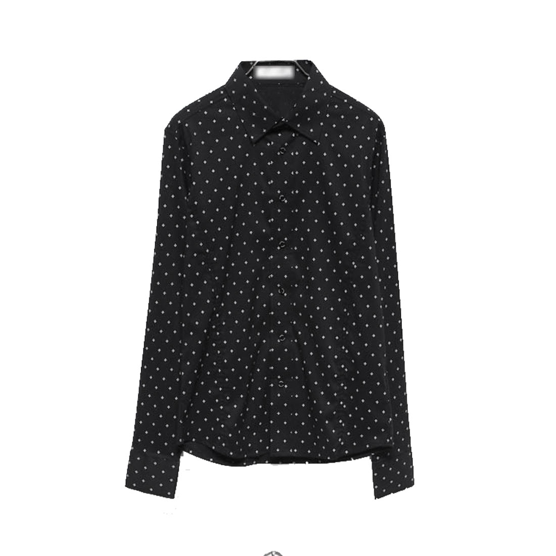 Men's Point Collar Buttoned Cuffs Flower Pattern Long Sleeves Black M Shirt