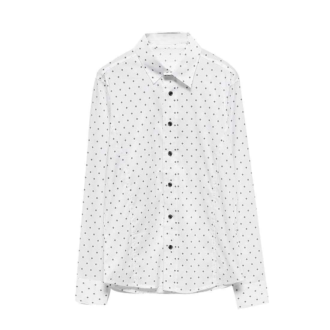 Men's Point Collar Floral Pattern Long Sleeves Single Breasted White Shirt M