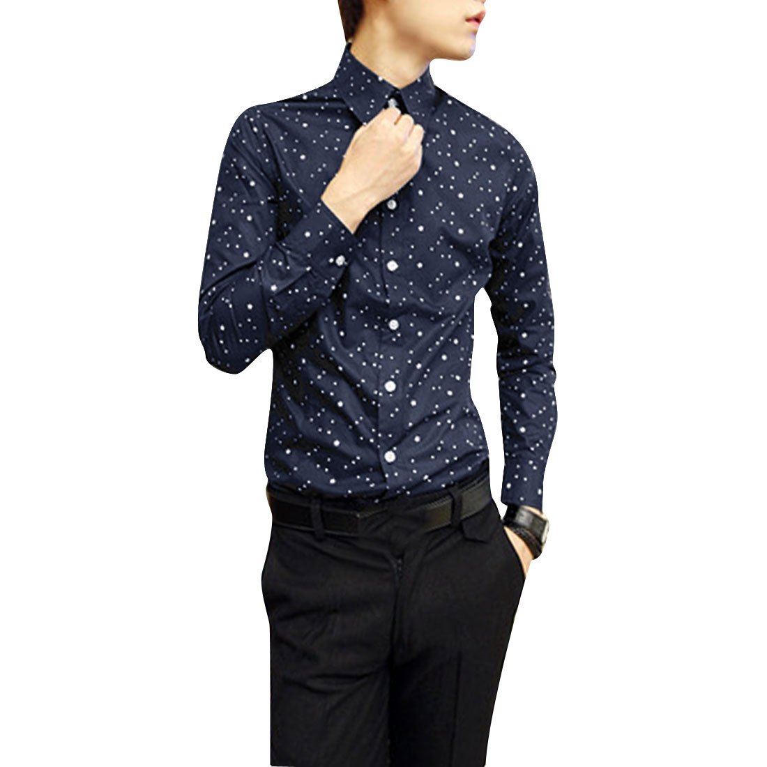 Men M Navy Blue Long Sleeve Button Front Point Collar Slim Fit Shirt