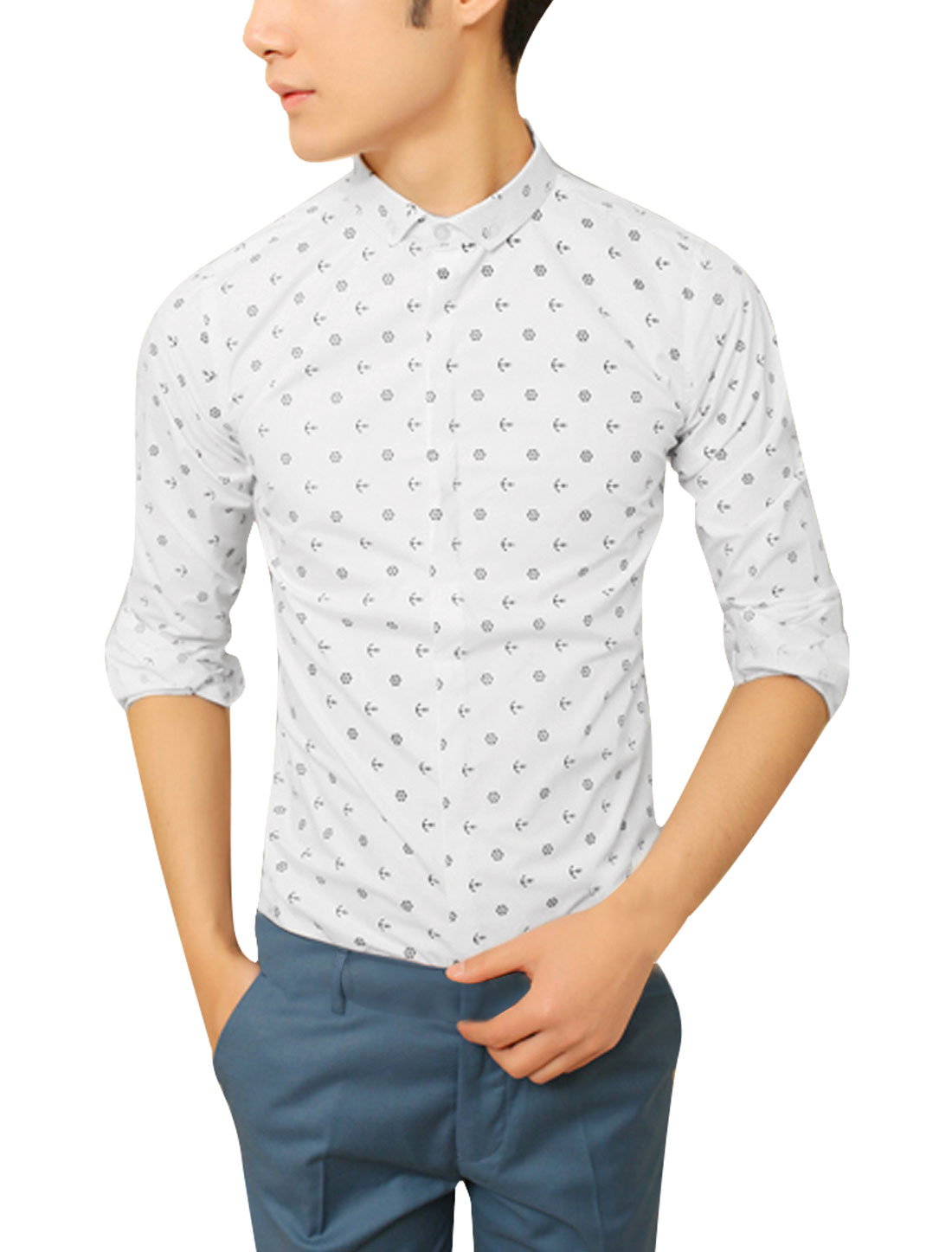Men White M Point Collar Long Sleeve Design Slim Fit Casual Top Shirt