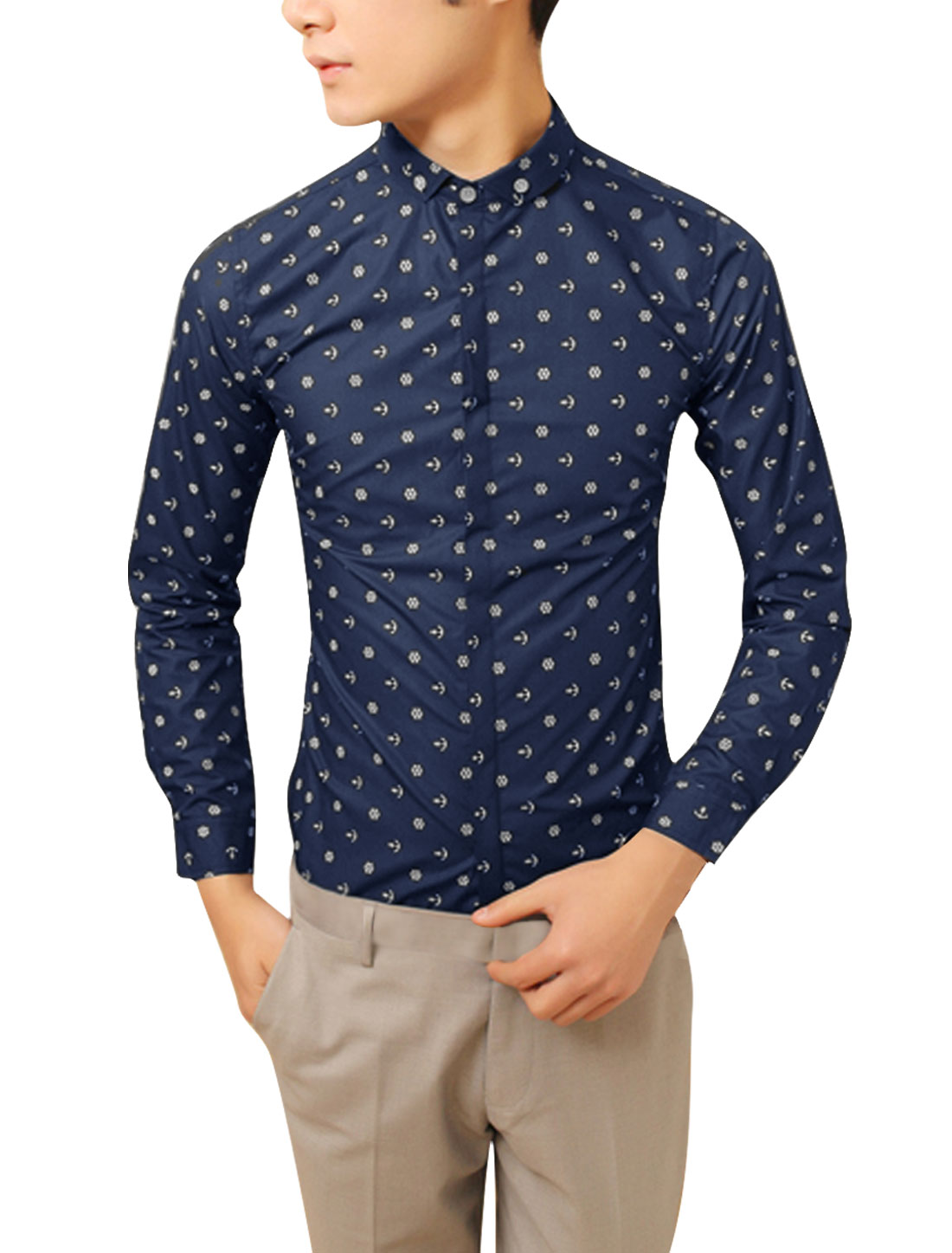 Navy Blue M Single Breasted Long Sleeve Cartoon Pattern Men Top Shirt