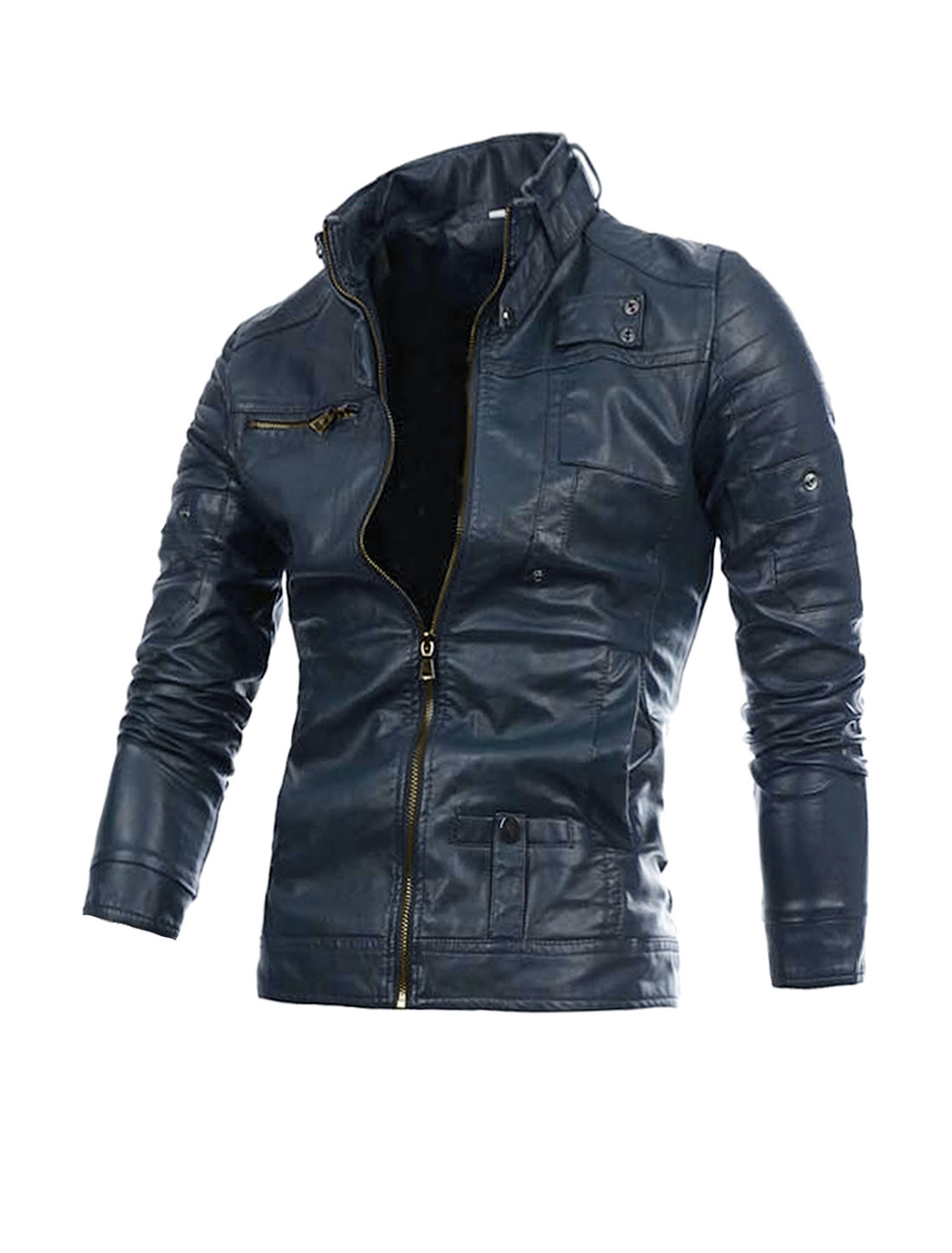 Men Chic Dark Blue Color Zip-Up Front Imitation Leather Jacket Coat M