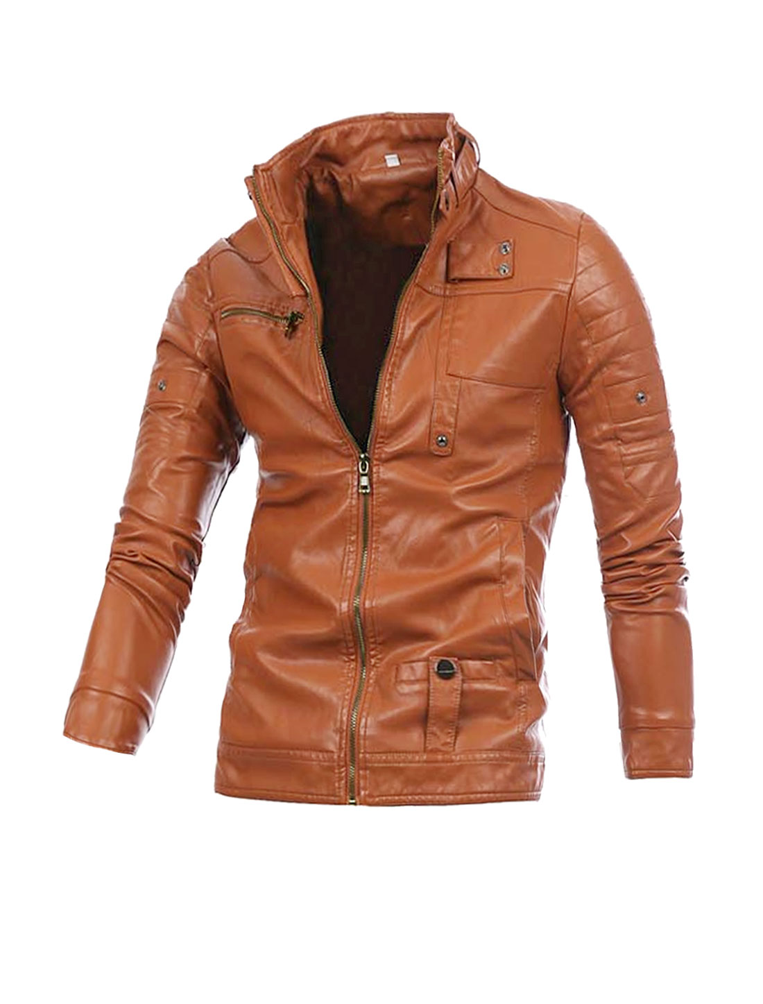 Man Button-Tab Stand Collar Long Sleeve Light Brown Imitation Leather Jacket M