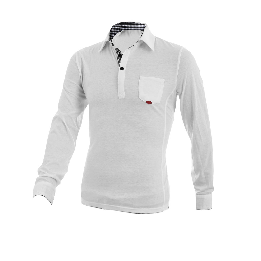 Men Chic Point Collar Long Sleeve Buttoned Cuff White Polo Shirt M