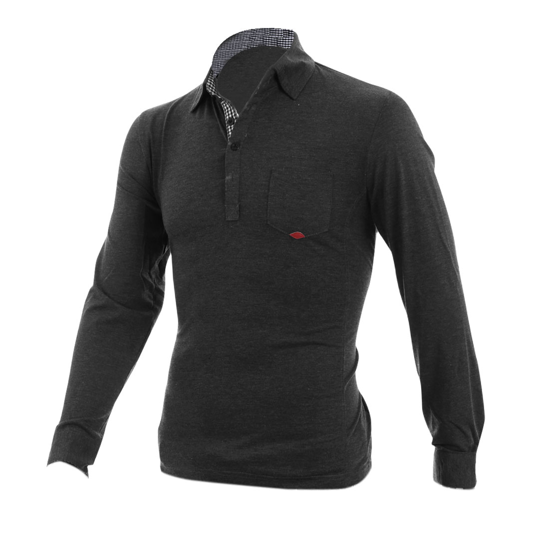 Man Stylish Button Front Plaids Detail Dark Gray Casual Polo Shirt M