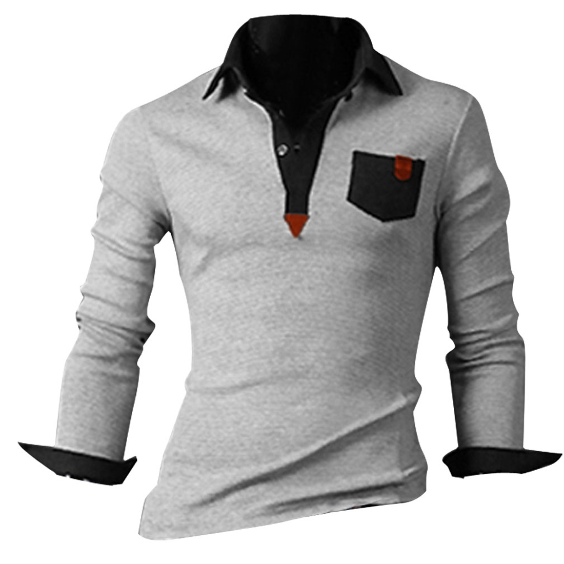 Man Slipover Light Gray Long Sleeve Chest Pockets Design Polo Shirt M