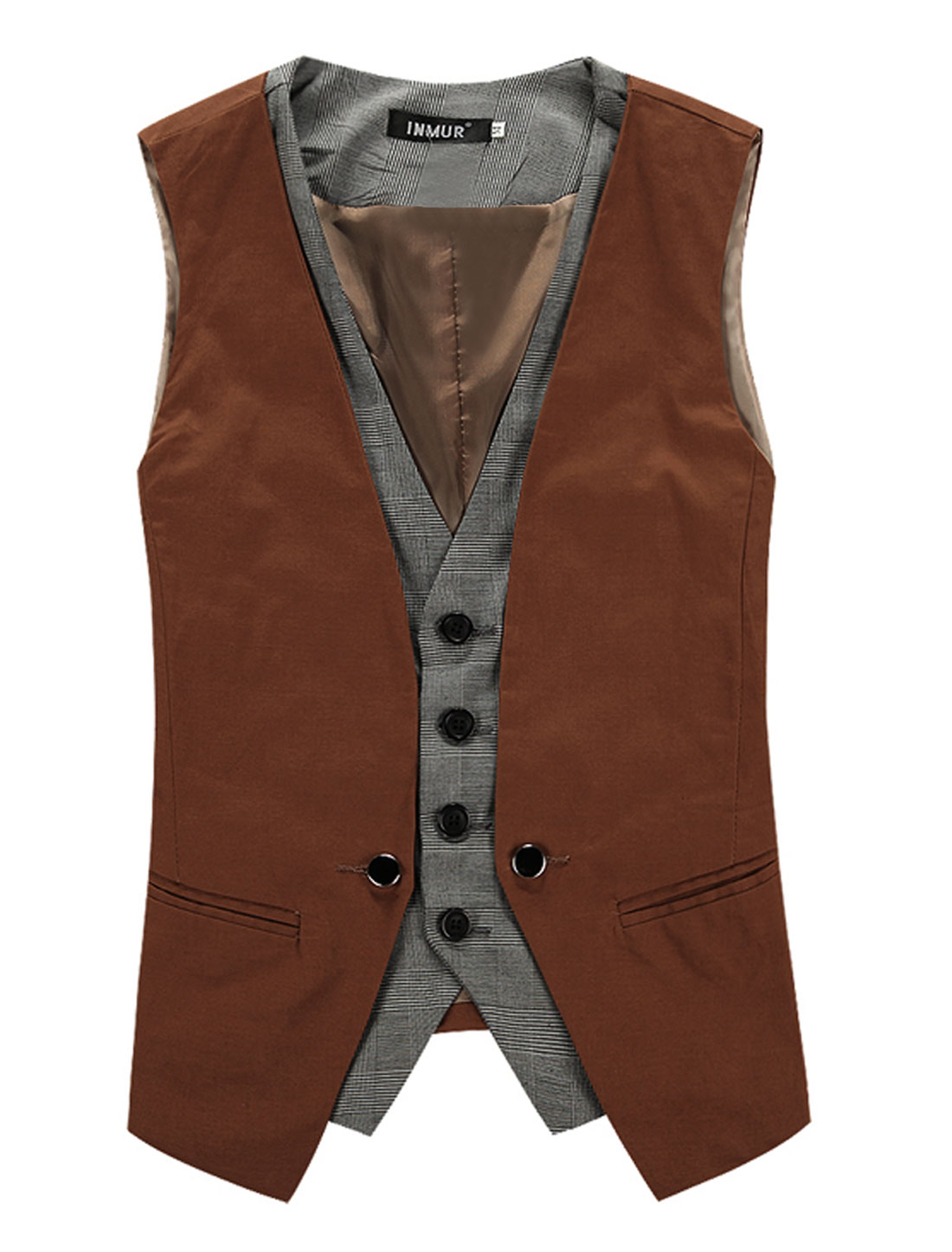 Mens Deep V Neck Splice Front Design Button Down Coffee Color Vest Coat M