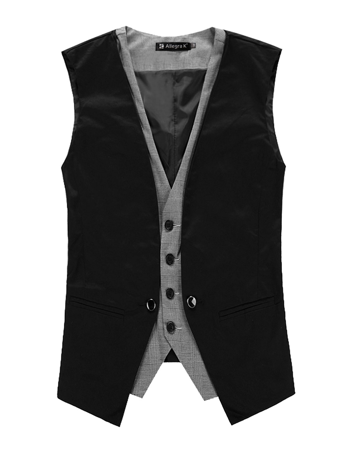 Men V Neck Sleeveless Plaid Button Down Closure Layered Waistcoat Vest Black M