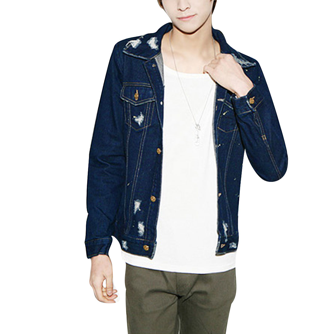 Men S Navy Blue Point Collar Chest Pockets Button Front Style Jacket