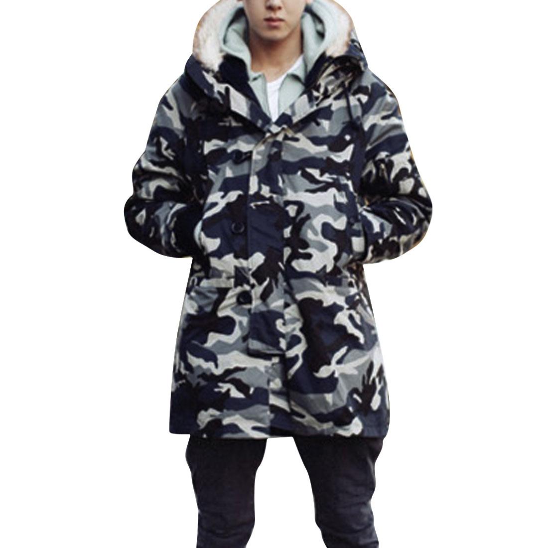 Men Concealed Zip-Up Front Camouflage Pattern Multicolor Padded Jacket Coat M