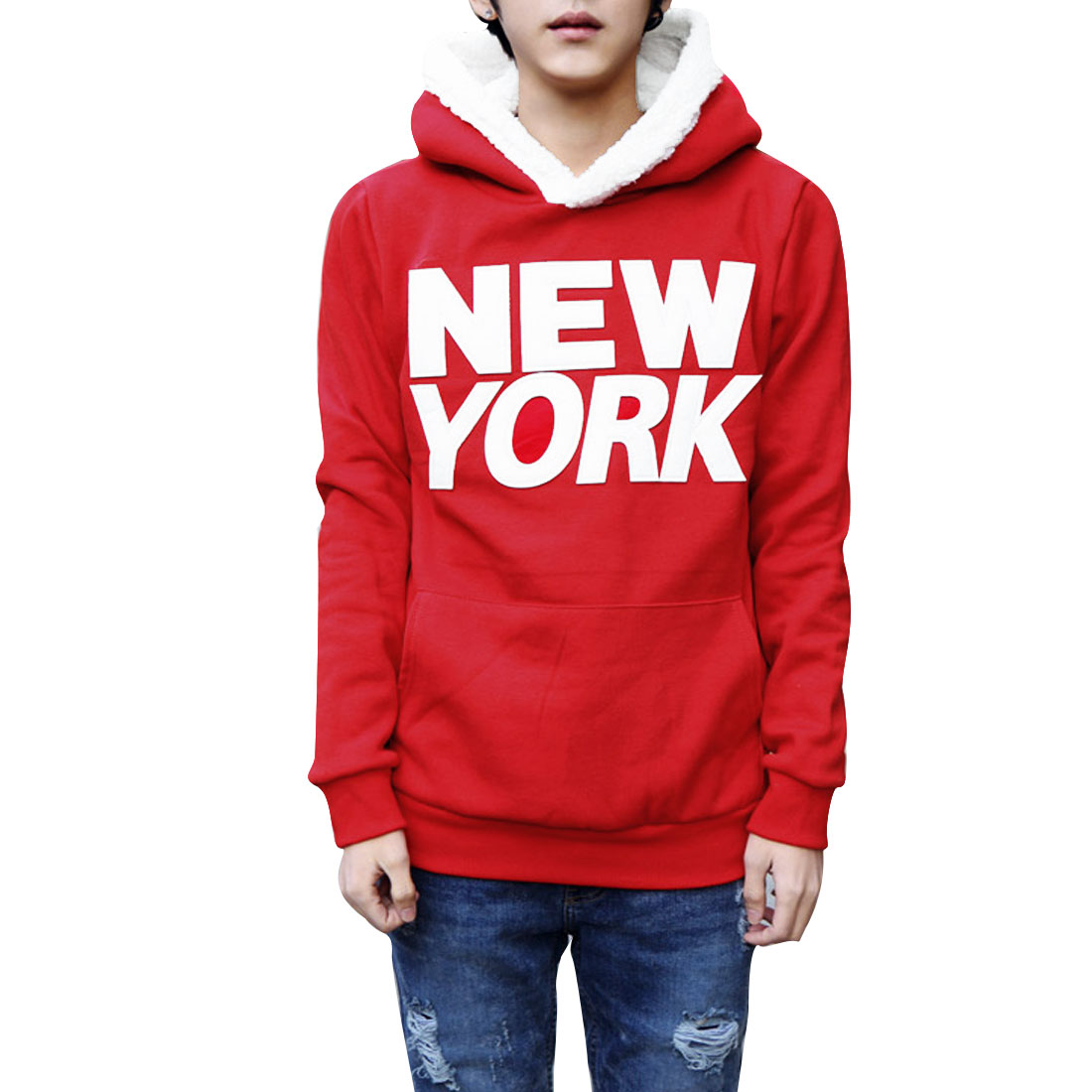 Men M Red Front Pocket Letters Pattern Long Sleeve Pullover Hoodie Shirt