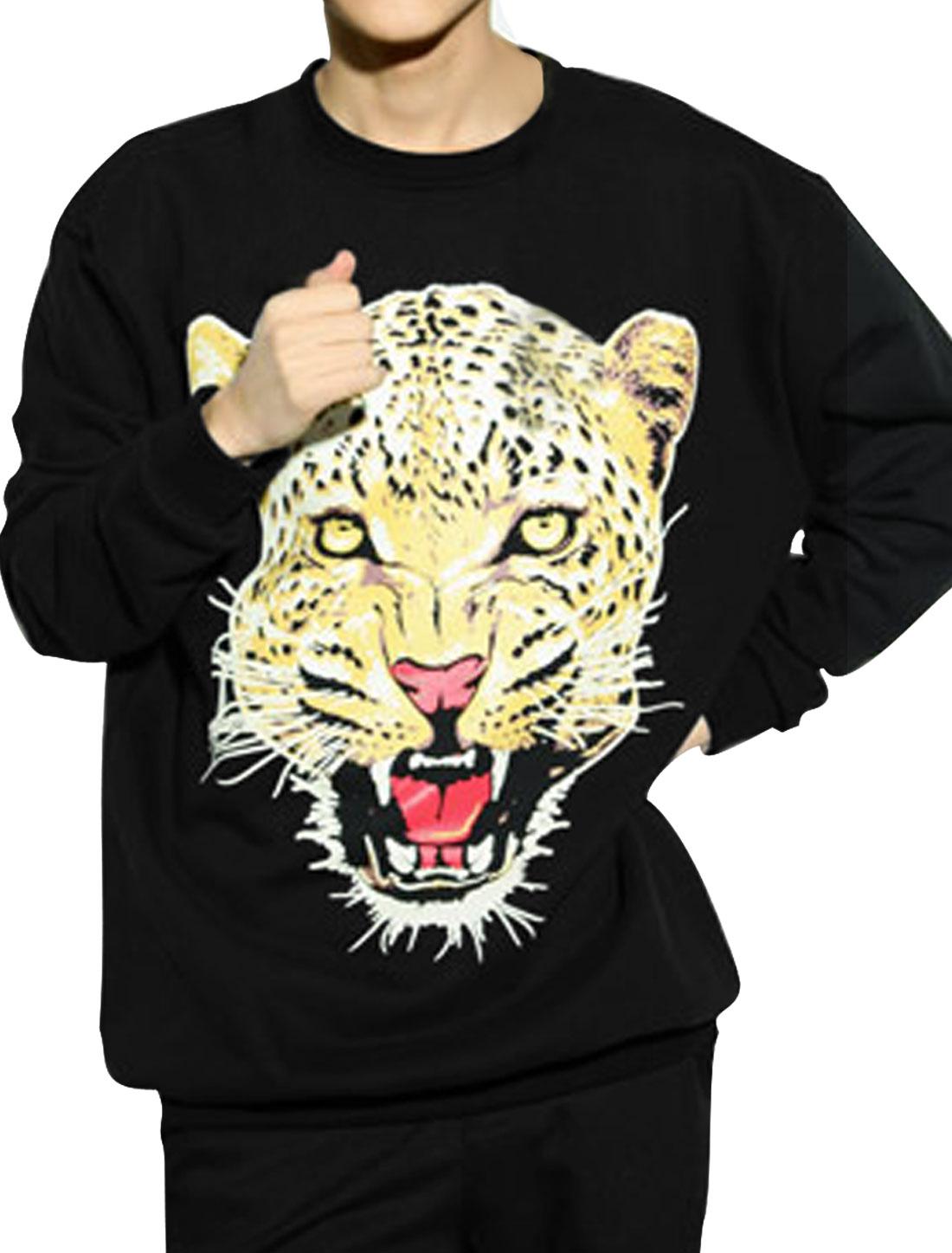 Men M Black Round Neck Long Sleeve Leopard Head Pattern Causal Shirt