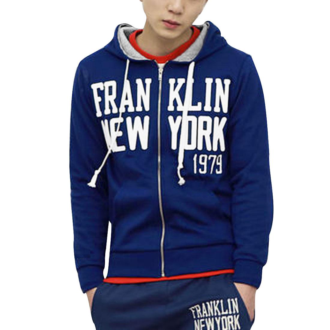 Men Blue M Front Pockets Letters Pattern Long Sleeve Design Hoodie Jacket