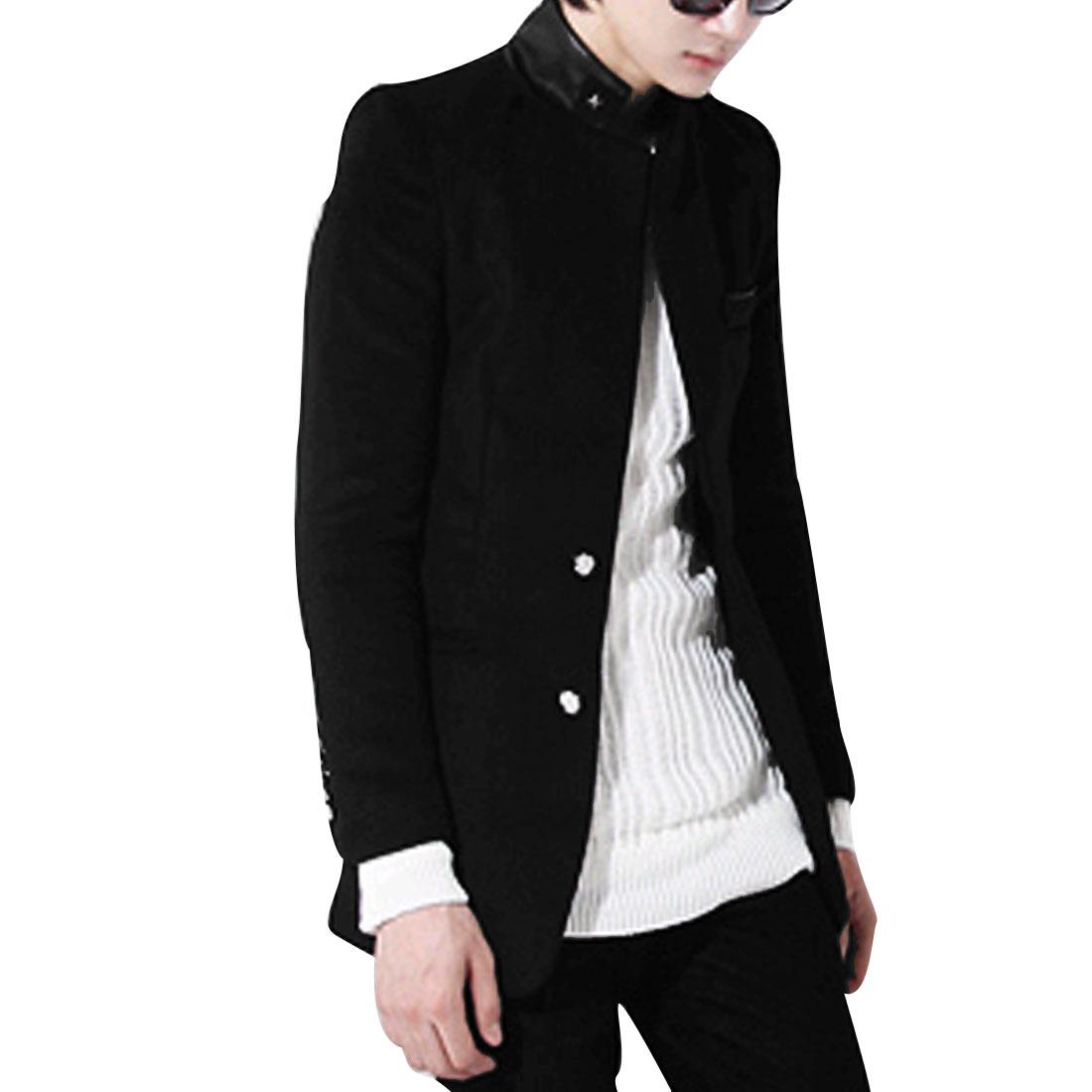 Men M Black Stand Collar Long Sleeve Design Slim Fit Casual Fleece Jacket