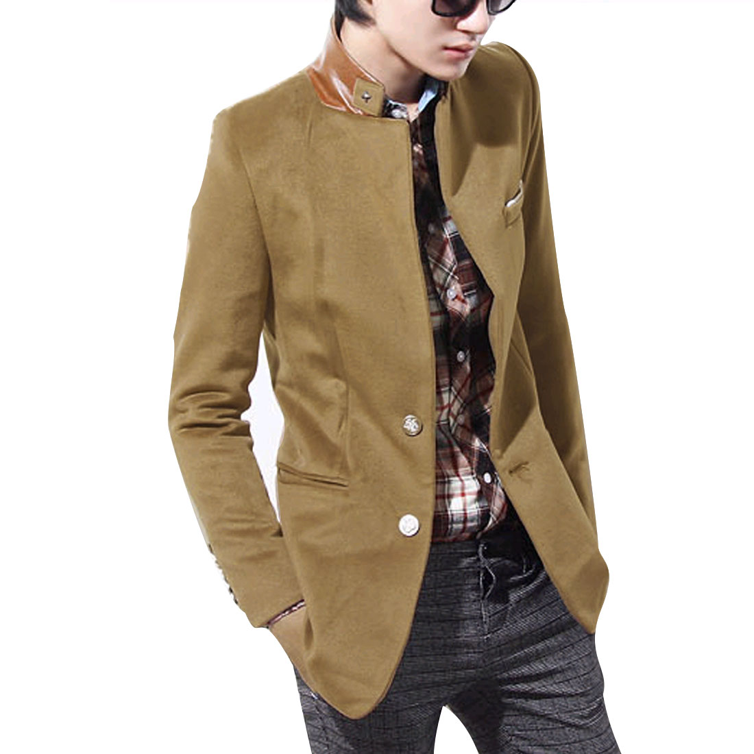 Khaki M Slim Fit Design Long Sleeve Front Button Closure Men Casual Jacket