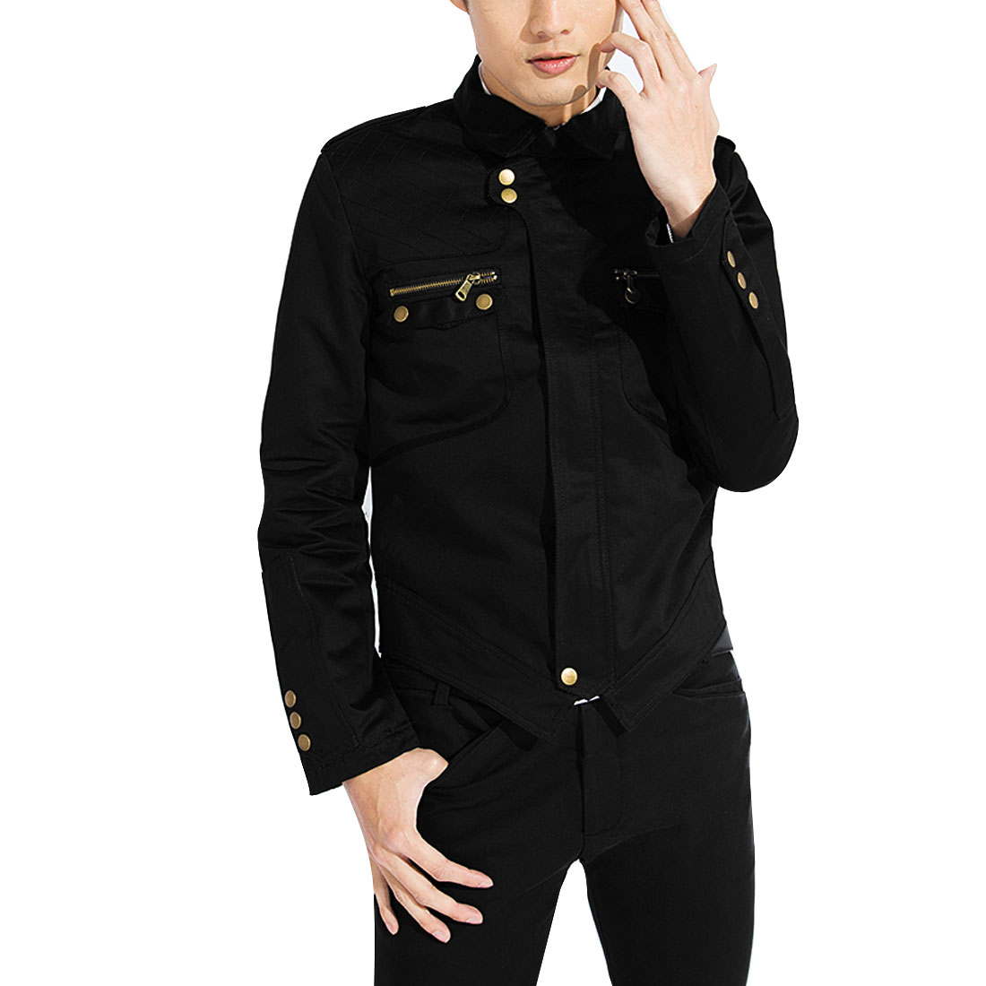 Men S Black Long Sleeve Design Point Collar Front Closure Casual Jacket