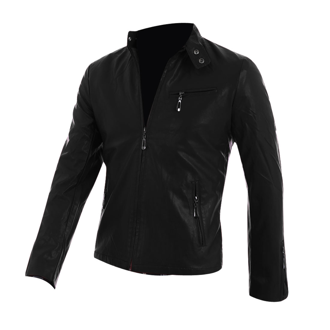 Mens Chic Stand Collar Long Sleeve Zip-Up Front Black Faux Leather Jacket S